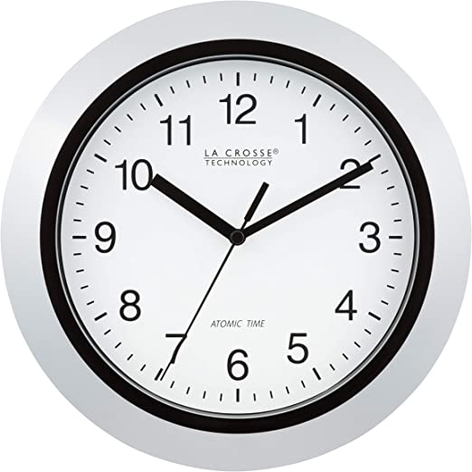 Amazon Com La Crosse Technology Atomic Analog Wall Clock 10 Silver Home Kitchen