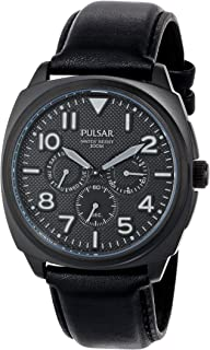 Pulsar Mens PP6085 Stainless Steel Watch with Black Leather Band