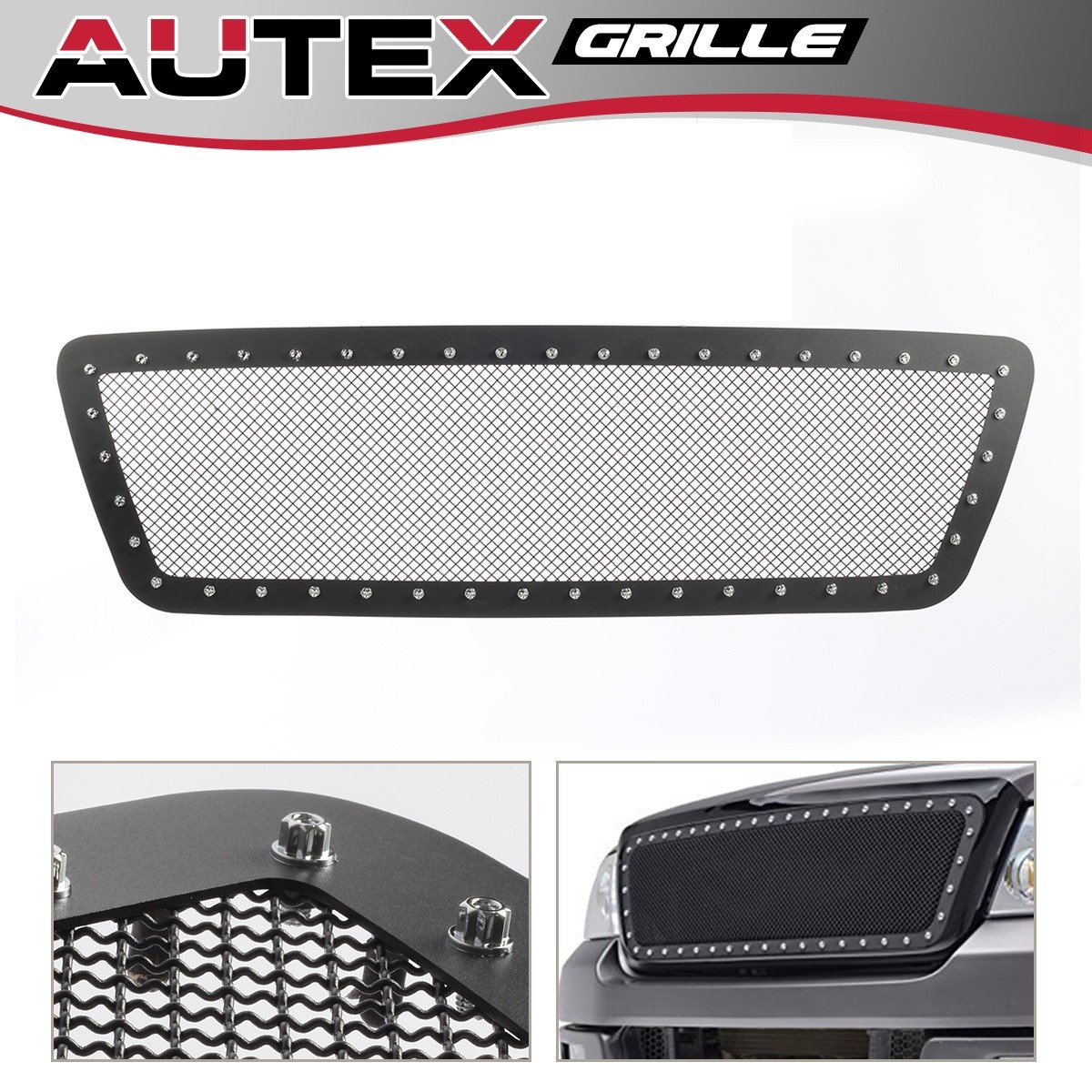 AUTEX Rivet Black Stainless Steel Upper Mesh Grille Insert FL5815H Compatible with 2004 2005 2006 2007 2008 Ford F-150 Grill