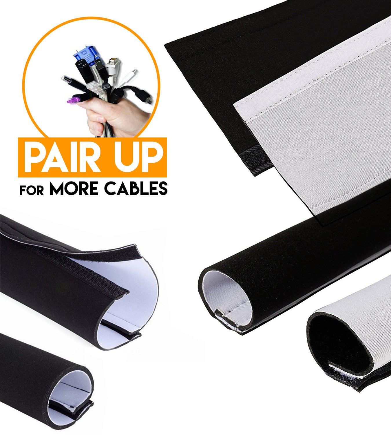 Adjustable Cable Organizer Sleeves (2 Pack x 35'') by Astorn. Reversible Black & White Neoprene Cord Organizer Sleeve Wraps. Cord Protector from Pets, Hiding Wires by Astorn (Image #4)