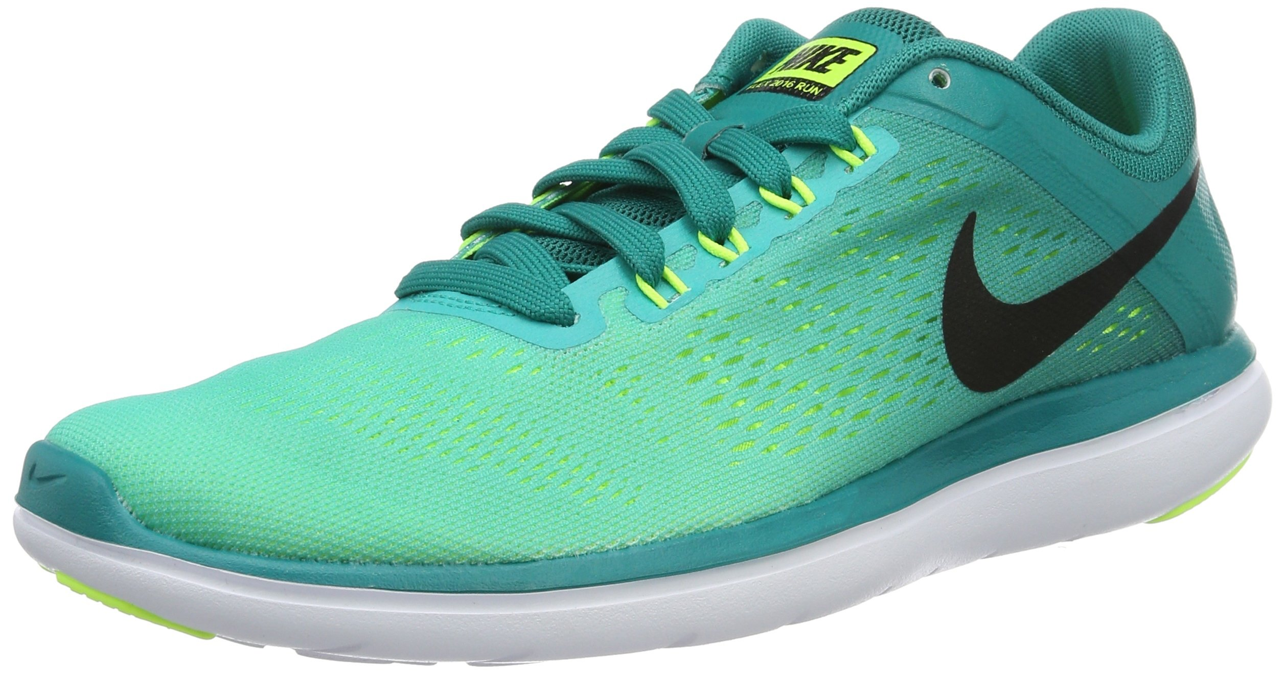Nike Men's Flex RN 2016 Rio Teal/Black/Clear Jade/Volt Nylon Running Shoes 10.5 M US