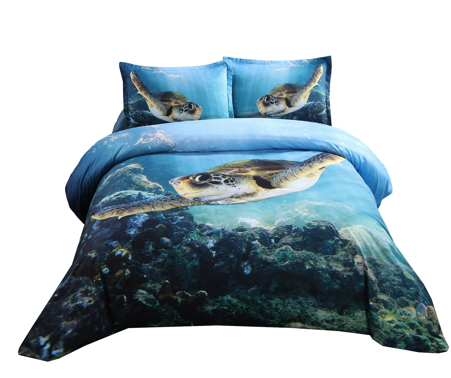 Ammybeddings 4 PCs 3D Comforter Cover Sets Full Size Swimming Sea Turtle Digital Bedding for Kids High Definition Ocean Animal Blue (No Comforter No Fitted Sheet)