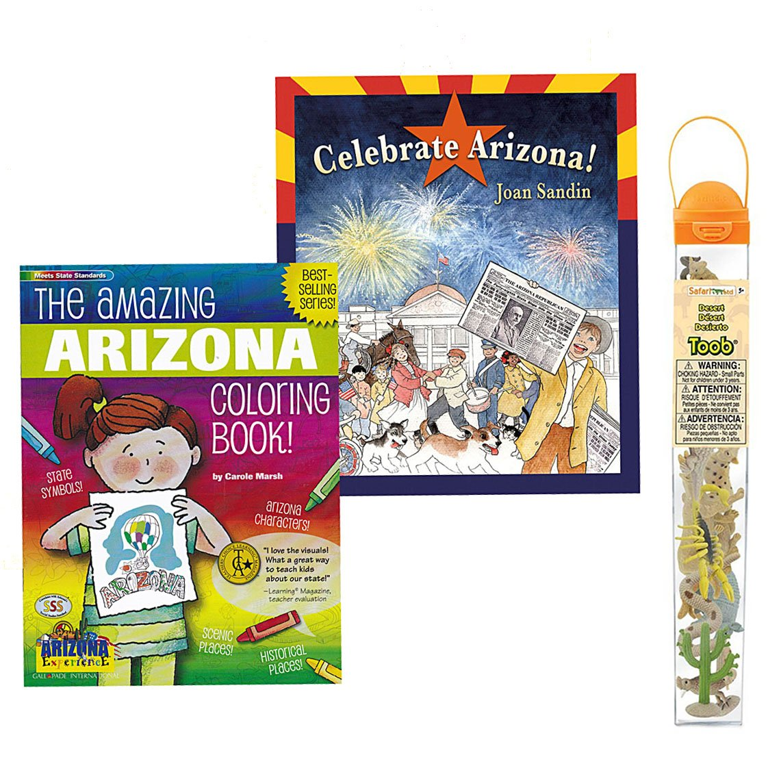 Celebrate Arizona History and Coloring Book Set for Kids with Desert Animals Toob Toy (3 Item Bundle)