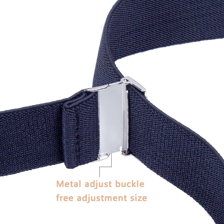 43 Inches, Navy blue Y Shape Solid Color 1 Inch Wide Adjustable Suspender Kids Boy Men Suspenders