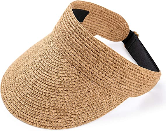 Sun Visors for Women Summer Beach Hats UPF 50+Wide Brim Roll-up Foldable Straw hat Visors for Outdoor Camping Hiking