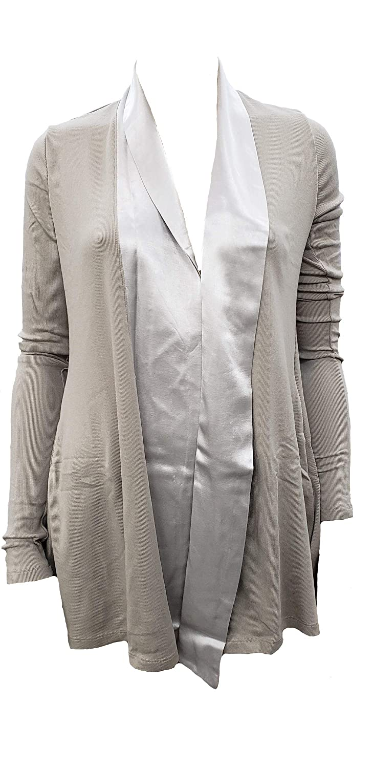 PJJ01 PJ Harlow Womens Shelby Satin Trimmed Robe with Pockets