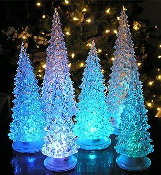 led lighted acrylic christmas trees holiday decoration set of 6 assorted sizes 10 75quot - Amazon Christmas Trees