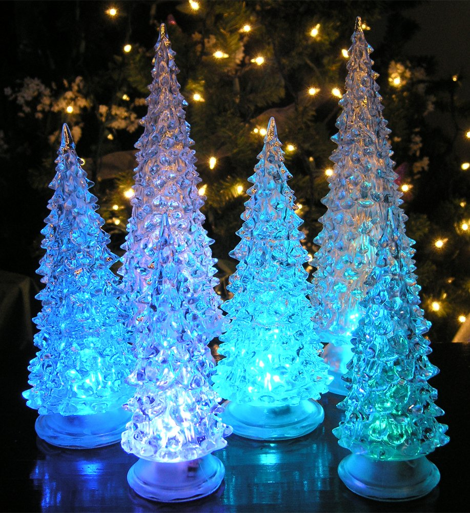 LED Lighted Acrylic Christmas Trees Holiday Decoration Set of 6 Assorted Sizes 10'', 7.5'' & 5.5''H