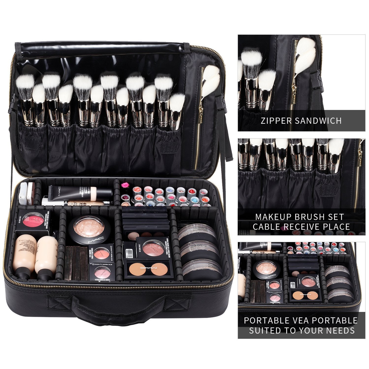 BEGIN MAGIC Train Malette de Maquillage Professionnel Beauty Case 3 couche, Coffret Sac Trousse Cosmétique Organiseur pour Pinceaux de Maquillage Vernis à Ongles
