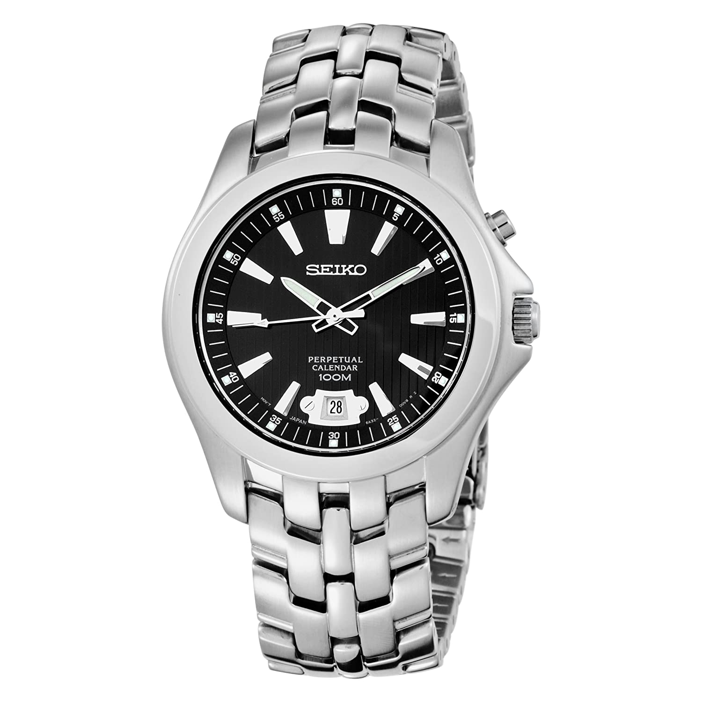 Seiko Perpetual Calendar.Seiko Men S Snq101 Perpetual Calendar Solid Stainless Steel Case And Bracelet Black Dial Watch