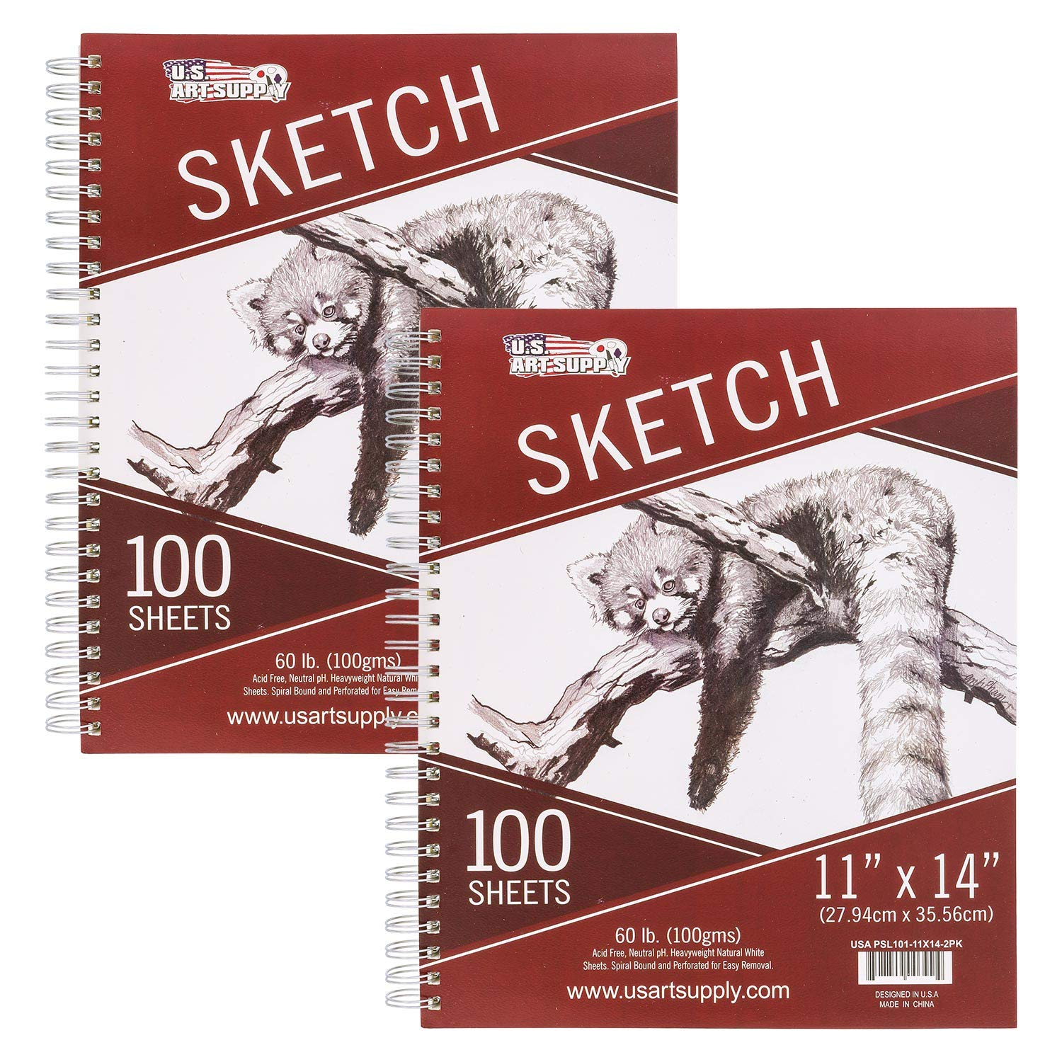 U.S. Art Supply 11'' x 14'' Side Spiral Bound - 60lb Sketch Drawing Pad (Pack of 2 Pads) - 100 Sheets in Each Sketch Paper Pad by US Art Supply