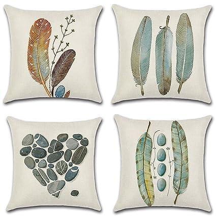 HuifengS Fundas de cojín cuadradas de Lino - Decorativas, para sofás o Camas - Juego de 4 Fundas de cojín de 45 x 45 cm