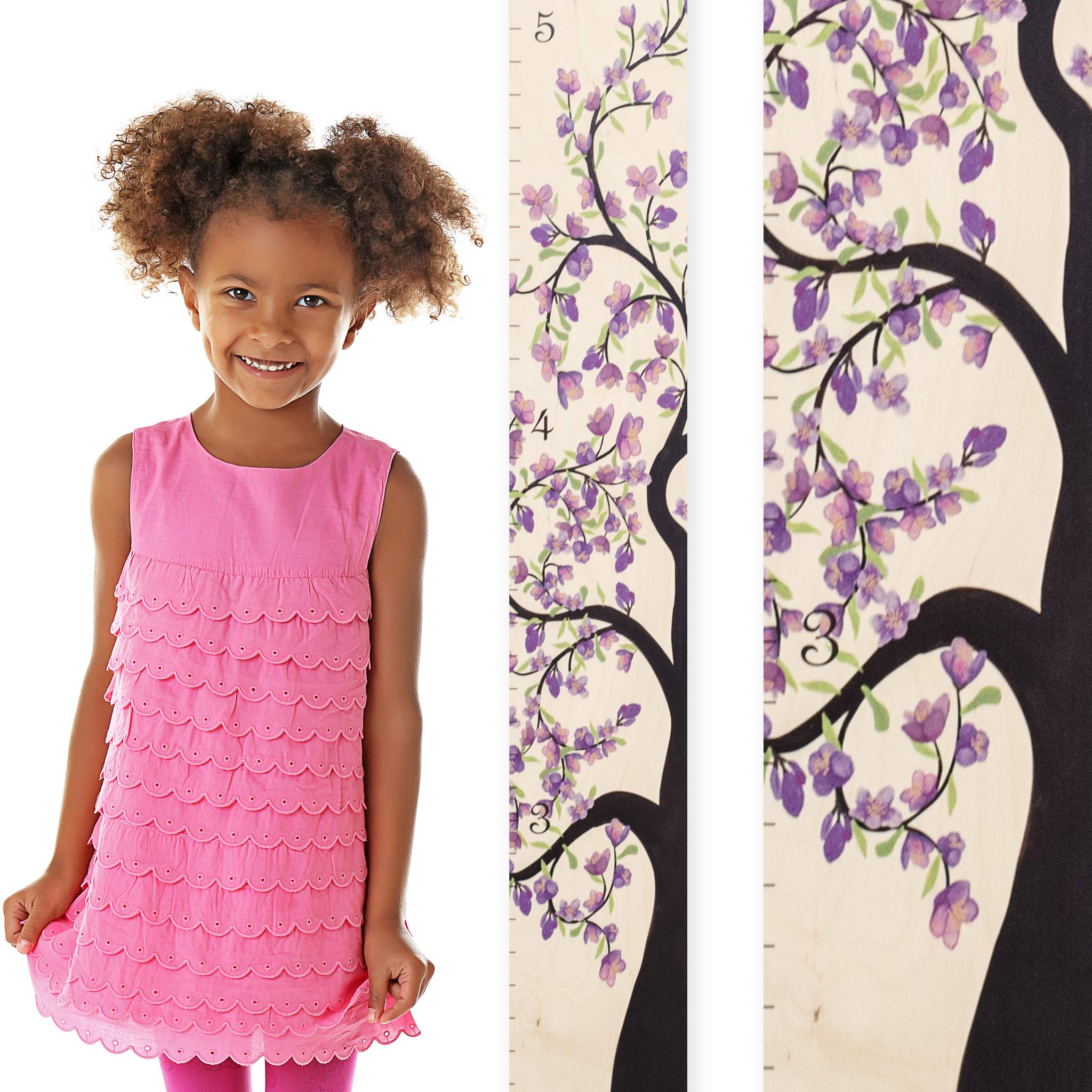 Growth Chart Art | Wooden Growth Chart Girls, Boys | Measuring Kids Height Wall Décor | Flower Growth Chart Ruler | Tree of Life Purple