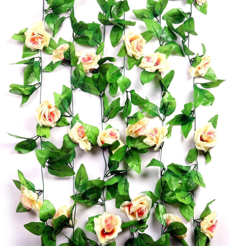9 Roses Artificial Rose Garland Silk Flower Vine Ivy Wedding Garden Window