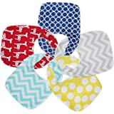 Cotton Waterproof Baby Drool Bibs with Plastic Liner, Adjustable Snaps for Eating, Drooling, Teething or Baby Shower…
