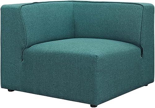 Modway Mingle Polyester Upholstered Generously Padded Corner Seat, Blue Fabric