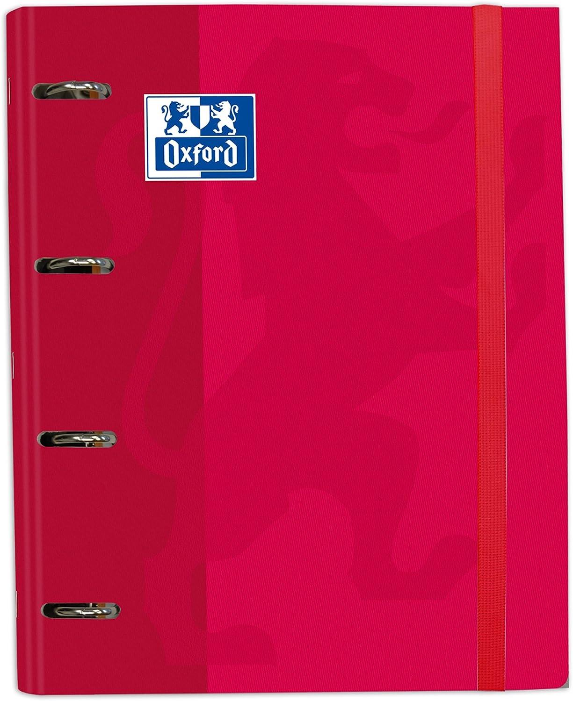 Archivador 4 anillas con recambio y goma Oxford, Tapa Extradura A4+ con Recambio 100 Hojas, Cuadrícula 5x5, Color Rojo
