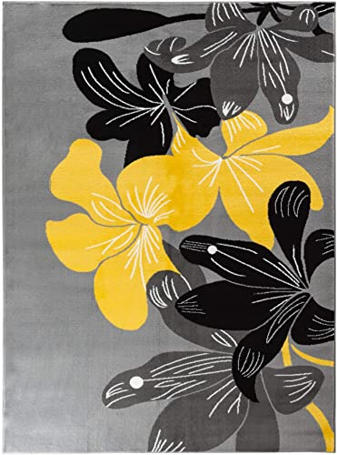 Majestic Looms m01000a Grey Modern Yellow Floral Flowers Modern Area Rug Carpet. 9×12