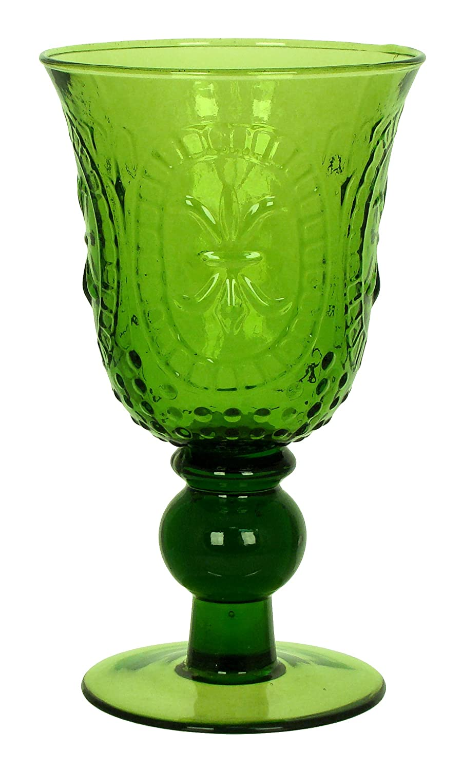 Christmas Tablescape Décor - Handmade green Renaissance style pressed glass goblet - Set of 4