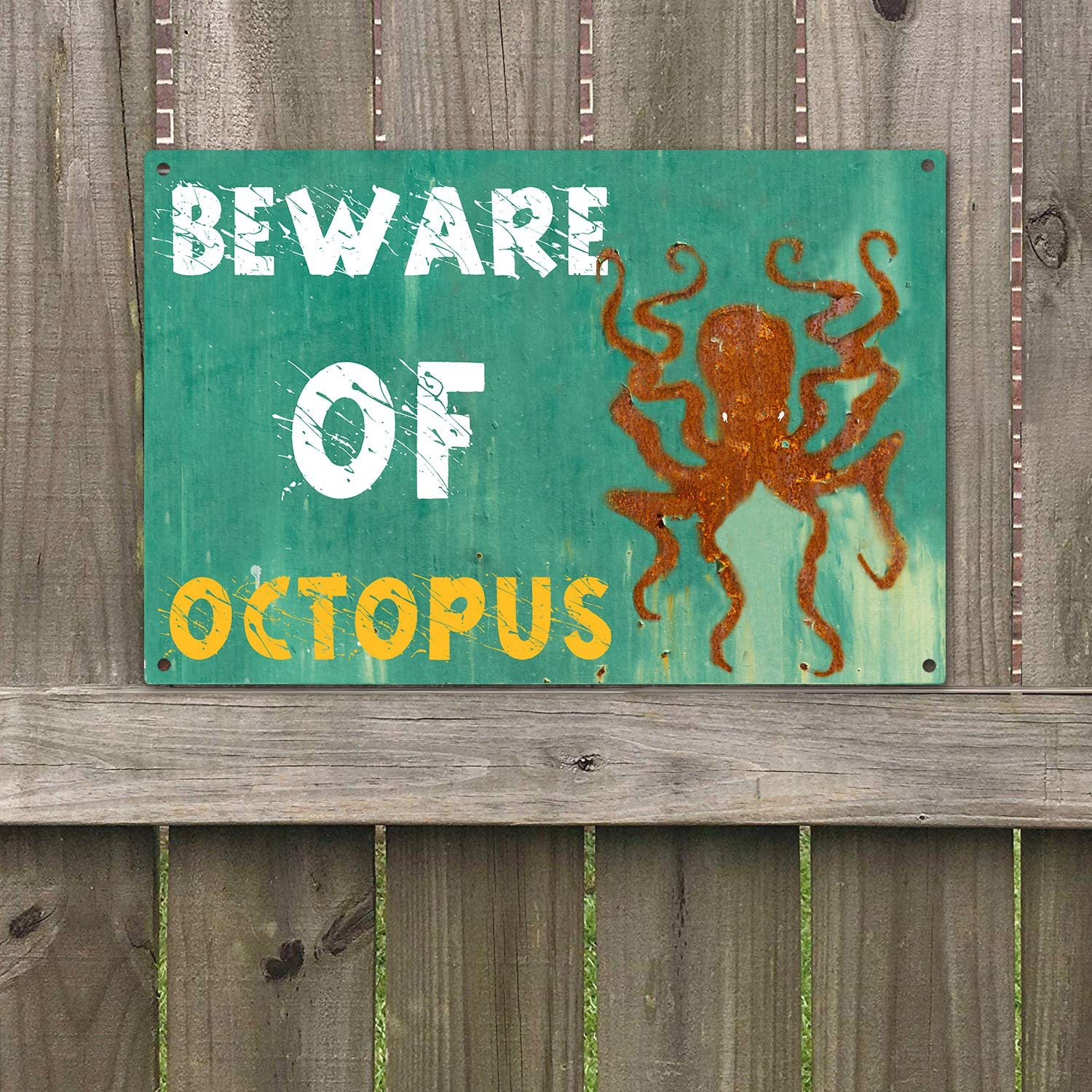 "Agantree Art Beware of Octopus Warning Sign Vintage Retro Metal Plaque Sign 8"" x 12"""