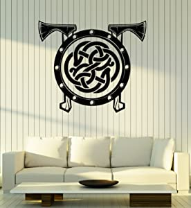 Vinyl Wall Decal Viking Shield Axes Celtic Pattern Warrior Scandinavian Art Stickers Mural Large Decor (ig5083) Black