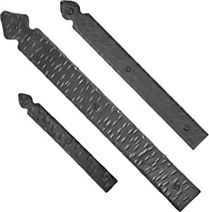 """6"""" Hand Forged Heavy-Duty Faux Dummy Strap Hinge for Barn Doors, Gates, Garages & Shutters – Black Finish - Borderland Rustic Hardware"""