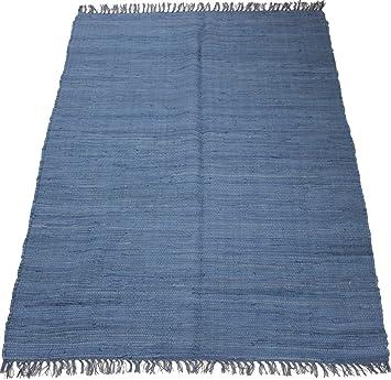 Flickenteppich blau  140 x 70 cm Einfarbiger Fleckerlteppich in Uni BLAU Handgewebt ...