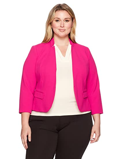 471089ca9f4 Amazon.com  Nine West Women s Plus Size Solid Crepe Kiss Front Jacket   Clothing