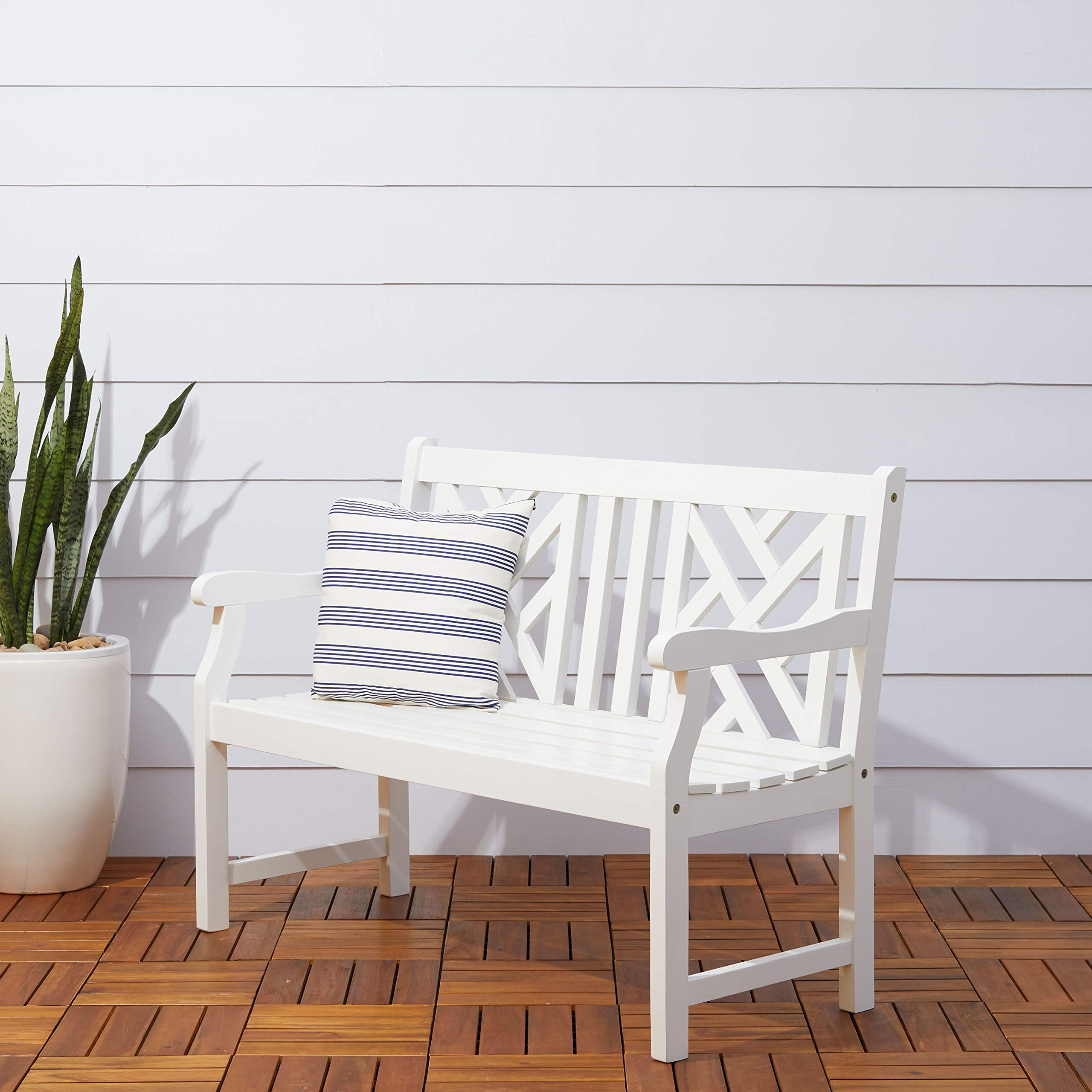 Vifah V1631 Bradley Outdoor Furniture, White-Painted