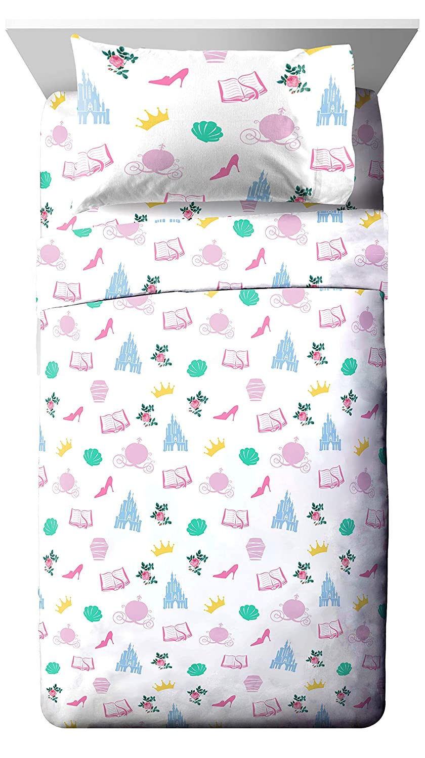 Jay Franco Disney Princess Sassy Twin Sheet Set - Super Soft and Cozy Kid's Bedding Features Belle & Cinderella - Fade Resistant Polyester Microfiber Sheets (Official Disney Product)