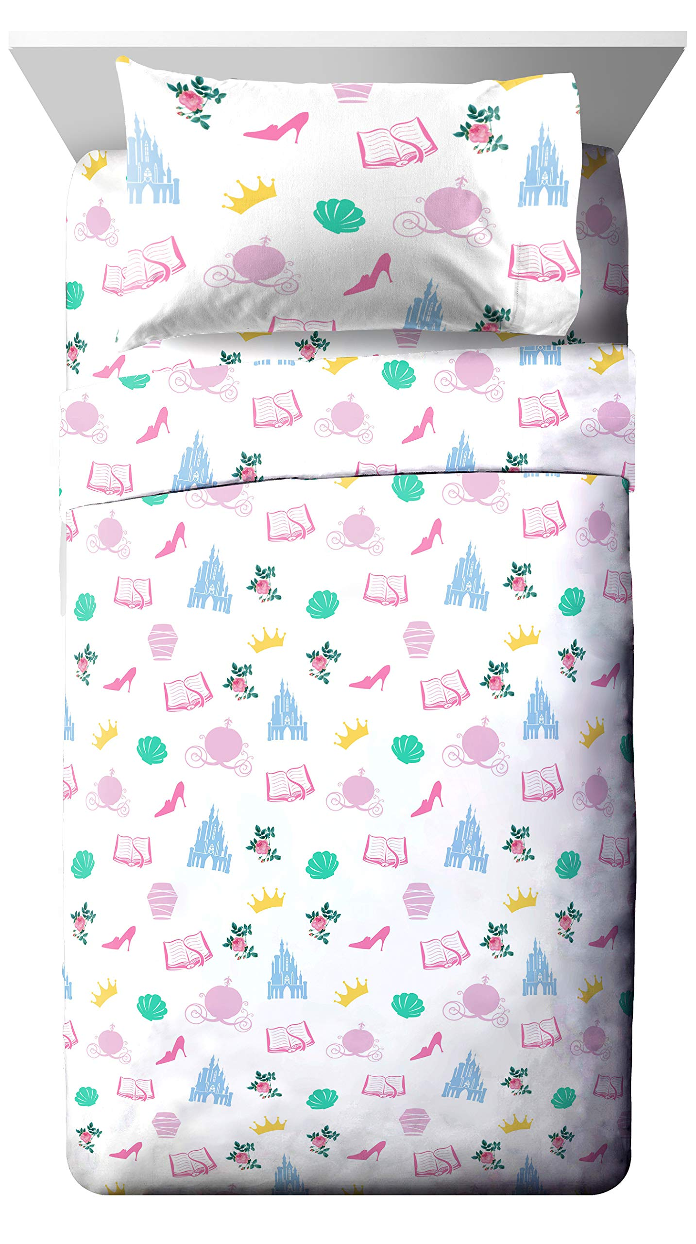 Jay Franco Disney Princess Sassy Twin Sheet Set - Super Soft and Cozy Kid's Bedding Features Belle & Cinderella - Fade Resistant Polyester Microfiber Sheets (Official Disney Product) by Jay Franco