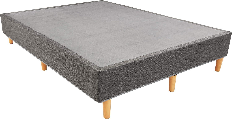 AmazonBasics Premium Foldable Mattress Foundation/Box Spring with Steel Slats and Wood Legs, Tools-free Assembley, King
