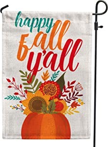 Hollyhorse Happy Fall Yall Garden Flag |12.5 x18 Inch Burlap Double Sided Vertical Outdoor Outside & Yard Flag - Autumn Pumpkin & Sunflower Flag
