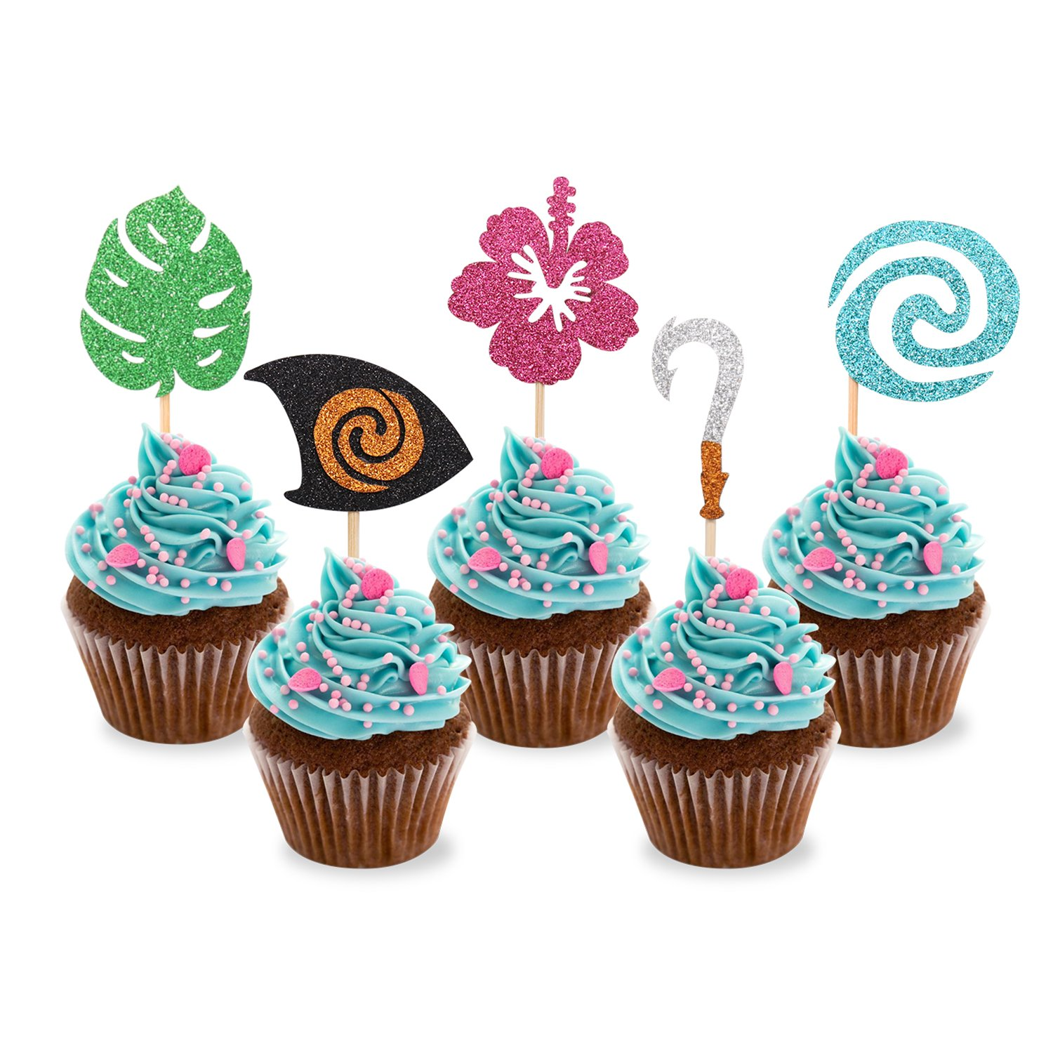 Moana Inspired Cupcake Toppers Birthday Party Decoration Boat Sail Swirls Hooks Hawaiian Flower Leaves for Tropical Luau Summer Party Baby Shower Wedding 25pcs