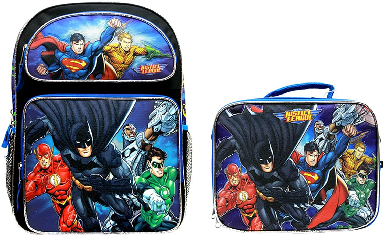 Accessory Innovations Grannys All New Justice League Batman Superman School 16 Backpack and Justice League Lunchbox Set C