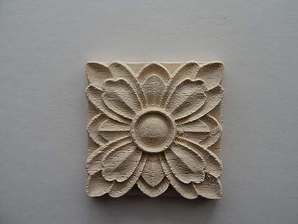 Decorative wooden flower square applique onlay furniture moulding