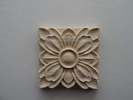 Fiore decorativo di legno quadrato applique onlay mobili