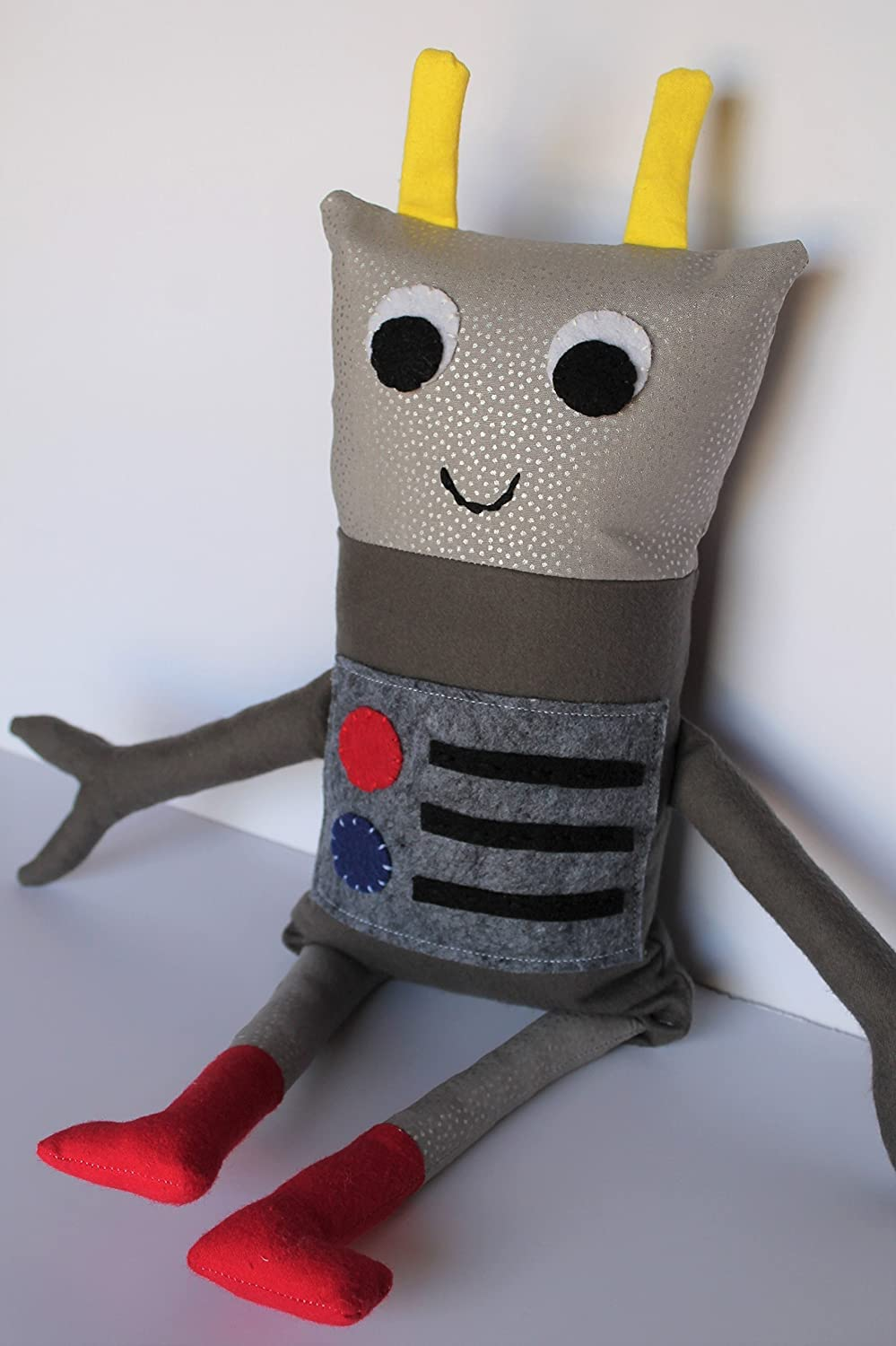 Happy Gray Polka Dot Robot Plushie with Primary Color Special Touches
