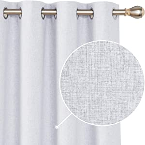 Deconovo Faux Linen Total Blackout Curtains Grommet Room Darkening Thermal Insulated Curtains Panels for Patio Door Grey 52x84 Inch 1 Pair