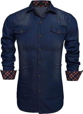 Coofandy Camisa Vaquera de Hombre con Bolsillos de Estilo Demin Regular: Amazon.es: Ropa y accesorios