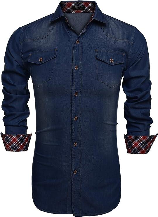 COOFANDY - Camisa vaquera para hombre de manga larga con botones: Amazon.es: Ropa y accesorios
