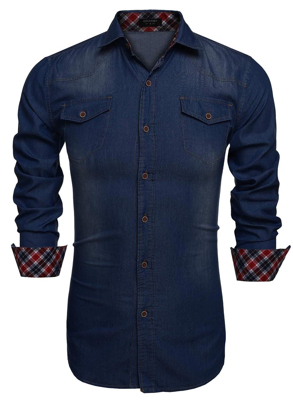 TALLA XXL. Coofandy Camisa Vaquera de Hombre con Bolsillos de Estilo Demin Regular