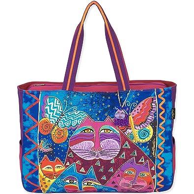Amazon.com: Laurel Burch Gatos con Mariposas Oversized bolsa ...