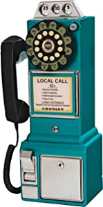 Crosley CR56-TL 1950's Payphone with Push Button Technology, Teal