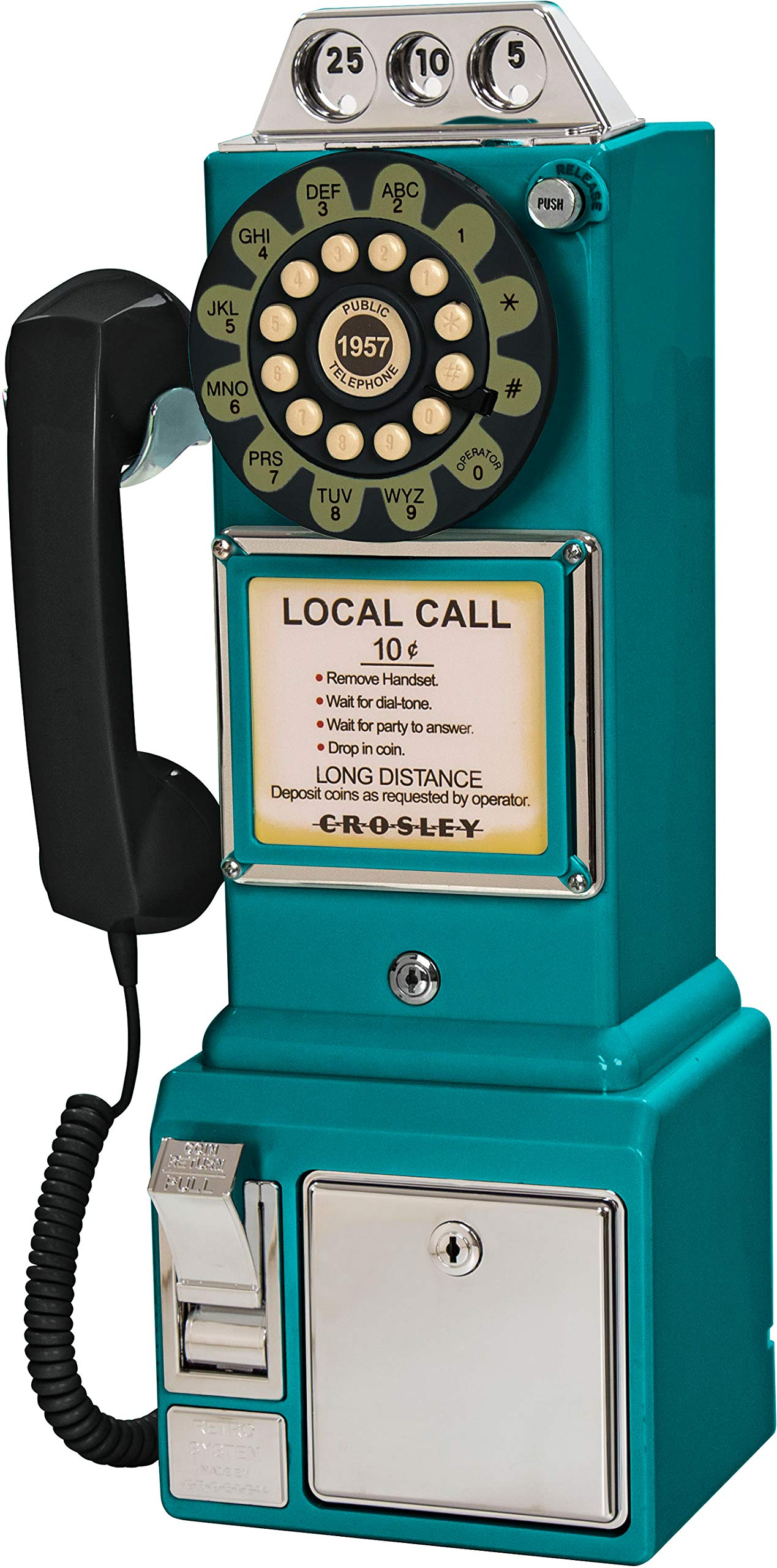 Crosley CR56-TL 1950's Payphone with Push Button Technology, Teal by Crosley (Image #3)