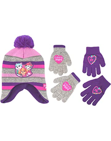 dc7e9e38dbc601 Nickelodeon Little Girls Paw Patrol Character Hat and 2 Pair Mittens or  Gloves Cold Weather Set