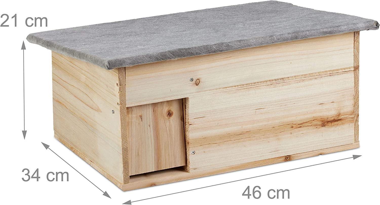 Montage Relaxdays Maison h/érisson r/ésistant /à l/'Hiver Bois /à l/'abri des Chats,entr/ée de Labyrinthe HlP 21x46x34 cm