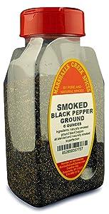 SMOKED GROUND BLACK PEPPER FRESHLY PACKED IN LARGE JARS, spices, herbs, seasonings