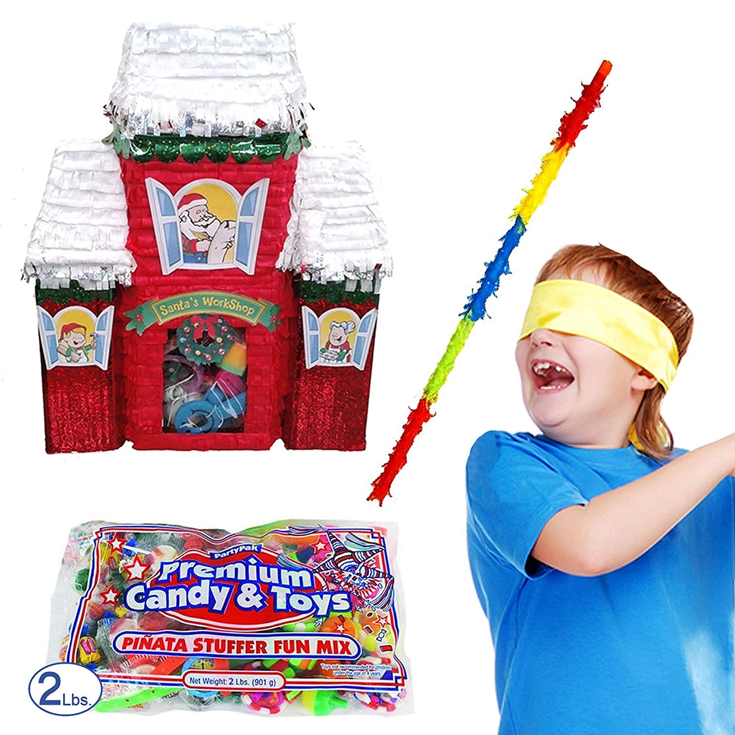 Pinatas Christmas Santa's Workshop Pinata Kit Including Buster Stick, Bandana and Toy/Candy Filler
