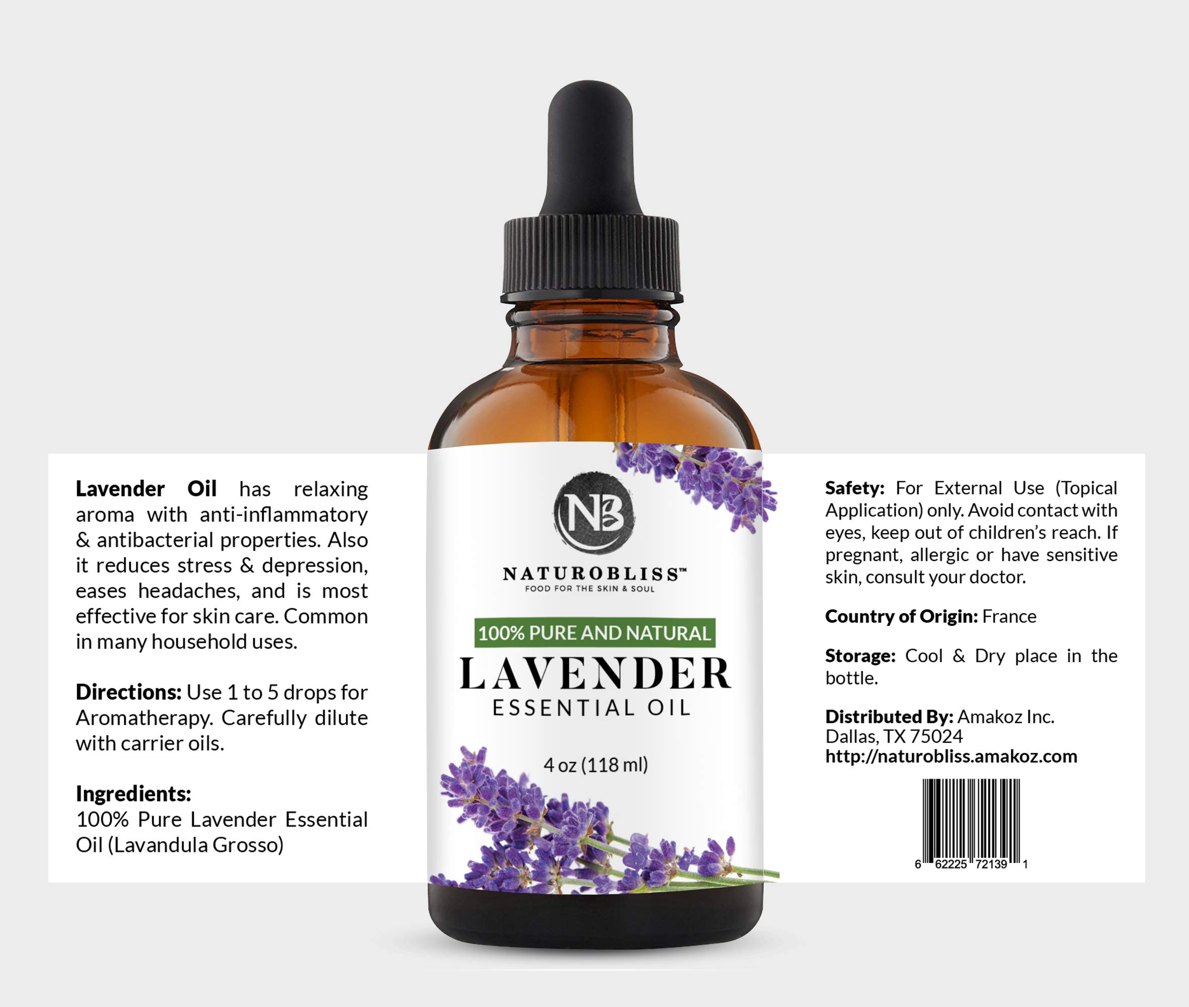 NaturoBliss Lavender Essential Oil, 100% Pure Therapeutic Grade, Premium Quality Lavender Oil, 4 fl. Oz - Perfect for Aromatherapy and Relaxation           by NaturoBliss